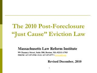 "The 2010 Post-Foreclosure  ""Just Cause"" Eviction Law"