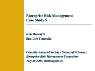 Enterprise Risk Management Case Study 5
