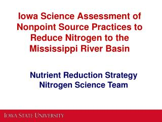 Nutrient Reduction Strategy Nitrogen Science Team