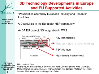 3D Technology Developments in Europe and EU Supported Activities