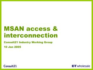 MSAN access & interconnection Consult21 Industry Working Group 10 Jan 2005