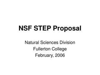 NSF STEP Proposal