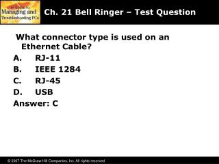 Ch. 21 Bell Ringer – Test Question