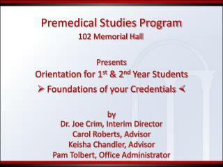 Premedical Studies Program