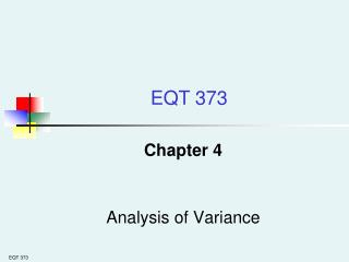 Chapter 4 Analysis of Variance
