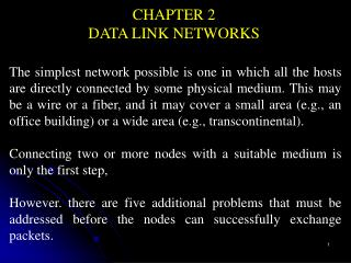 CHAPTER 2 DATA LINK NETWORKS