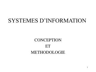 SYSTEMES D'INFORMATION