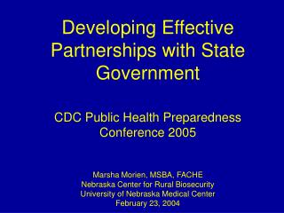 Developing Effective Partnerships with State Government