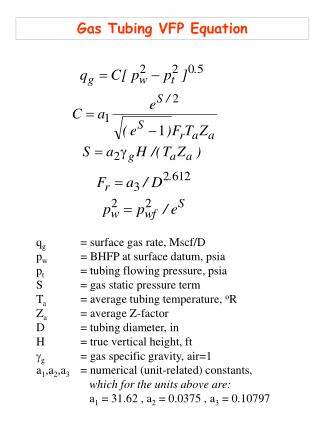 q g  	= surface gas rate, Mscf/D p w  	= BHFP at surface datum, psia