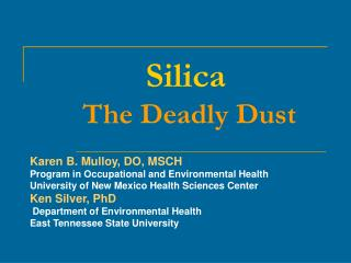 Silica   The Deadly Dust