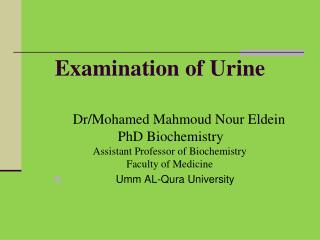 Examination of Urine