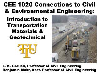 CEE 1020 Connections to Civil & Environmental Engineering: