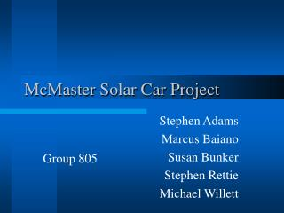 McMaster Solar Car Project
