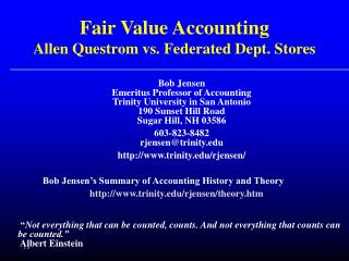 Fair Value Accounting Allen Questrom vs. Federated Dept. Stores