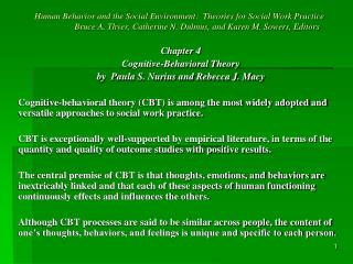 Chapter 4 Cognitive-Behavioral Theory by  Paula S. Nurius and Rebecca J. Macy