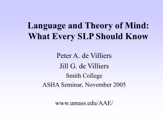 Language and Theory of Mind:  What Every SLP Should Know