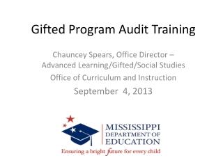 Gifted Program Audit Training