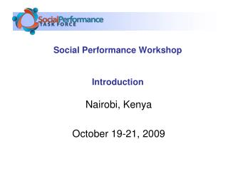 Social Performance Workshop Introduction