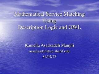 Mathematical Service Matching Using Description Logic and OWL
