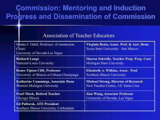 Commission: Mentoring and Induction Progress and Dissemination of Commission
