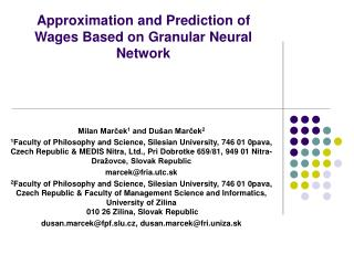 Approximation and Prediction of Wages Based on Granular Neural Network