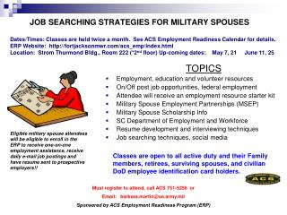 JOB SEARCHING STRATEGIES FOR MILITARY SPOUSES