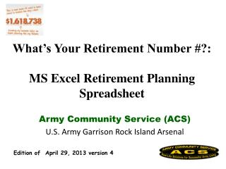 What's Your Retirement Number #?: MS Excel Retirement Planning Spreadsheet