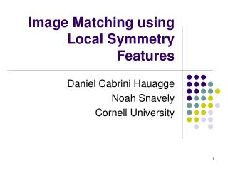 Image Matching using Local Symmetry Features