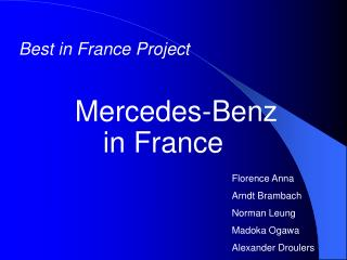 Best in France Project