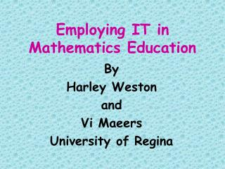 Employing IT in Mathematics Education