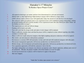 Hamaker's 17 Miracles To Reduce Space Project Costs*