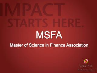 MSFA Master of Science in Finance Association