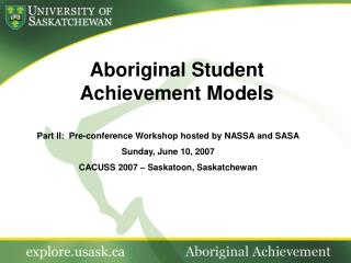 Aboriginal Student  Achievement Models