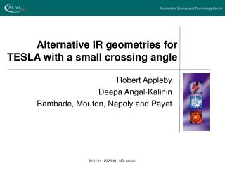 Alternative IR geometries for TESLA with a small crossing angle
