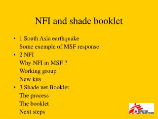 NFI and shade booklet
