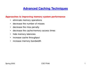 Advanced Caching Techniques