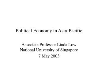Political Economy in Asia-Pacific