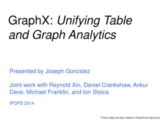 GraphX :  Unifying Table and Graph Analytics