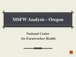 MSFW Analysis - Oregon