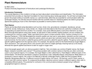 Plant Nomenclature by Matt Jenks Purdue University Department of Horticulture and Landscape Architecture Introductory Co