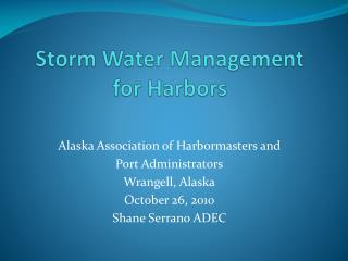 Storm Water Management for Harbors