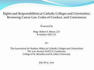 Rights and Responsibilities at Catholic Colleges and Universities: