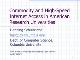 Commodity and High-Speed Internet Access in American Research Universities