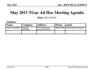 May 2011 TGac Ad Hoc Meeting Agenda
