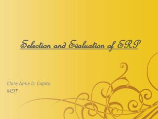 Selection and Evaluation of ERP