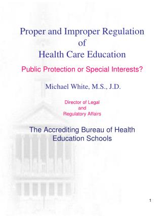 Regulation of Health Care Education
