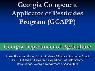 Georgia Competent Applicator of Pesticides Program (GCAPP)