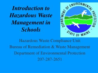 Introduction to  Hazardous Waste Management in Schools