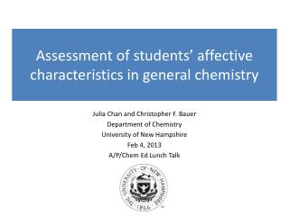 Assessment of students' affective characteristics in general chemistry