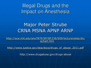 Illegal Drugs and the  Impact on Anesthesia